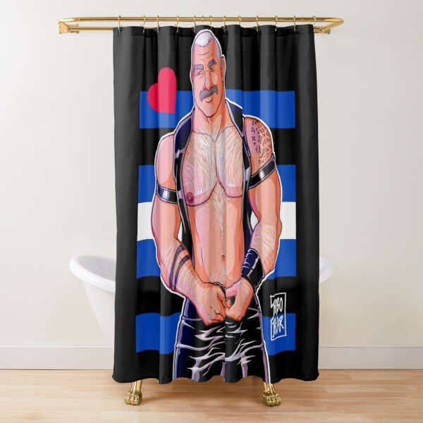 DADDY LIKES LEATHER - LEATHER PRIDE FLAG Shower Curtain
