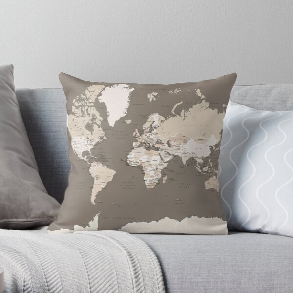 Brown world map with cities Throw Pillow