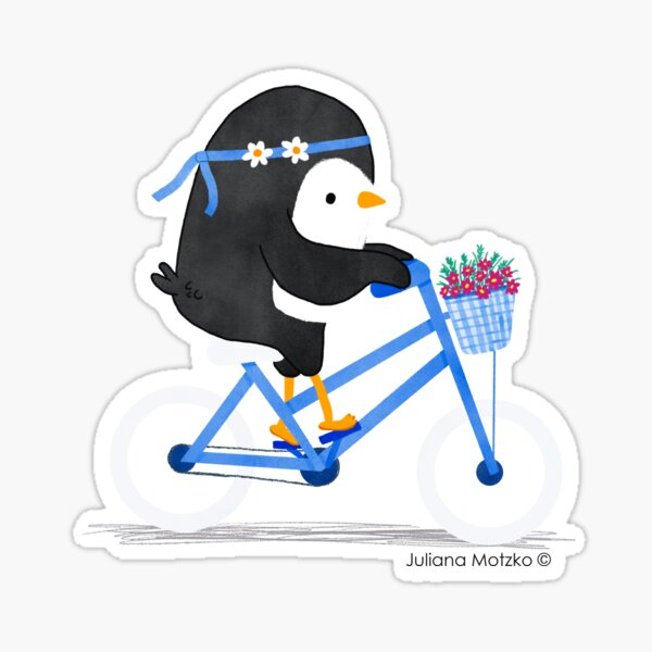 Penguin on a Bike Sticker
