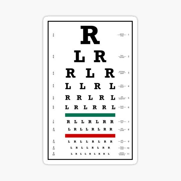 Drummers Eye Chart Sticker