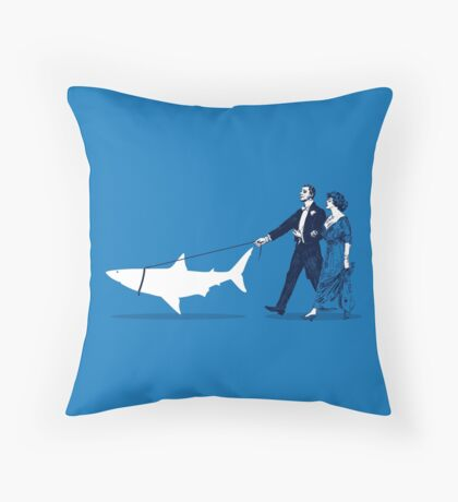 Walking the Shark Throw Pillow