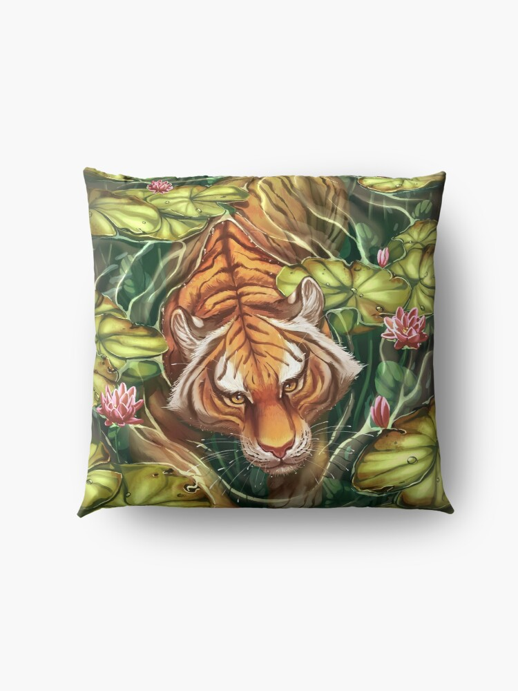 Alternate view of Tiger in the Lillies Floor Pillow
