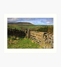 Five bar gate and Pendle hill Art Print