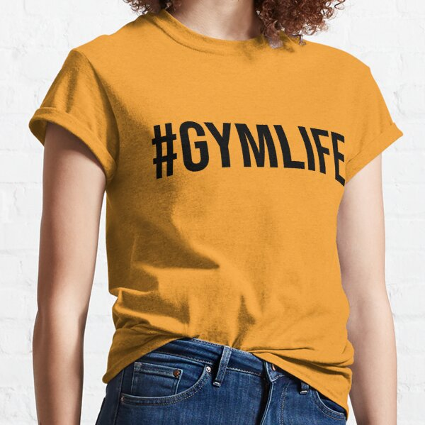 #GYMLIFE | Gym Workout Hashtag Text | Black and Hot Pink Classic T-Shirt