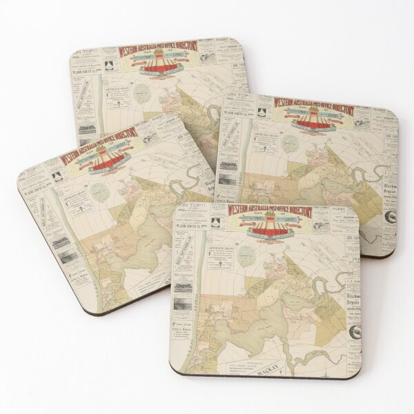 Western Australia Post Office Directory Map of Perth & Fremantle and their suburbs, 1900, State Library of Western Australia Coasters (Set of 4)