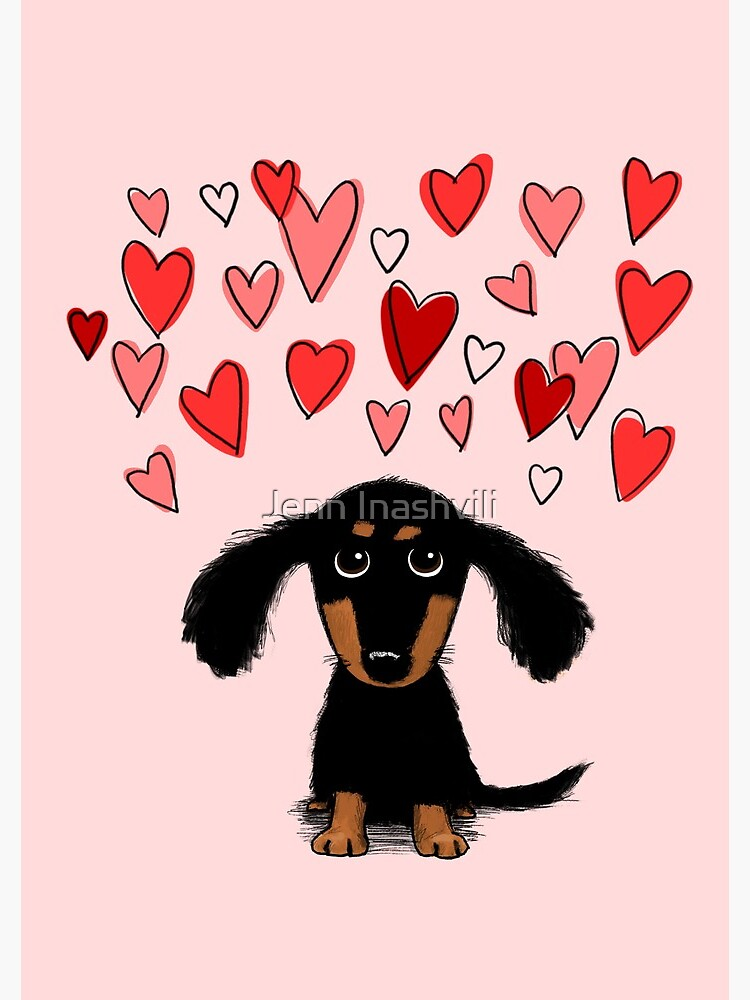 Cute Dachshund Puppy Dog with Valentine Hearts by ShortCoffee