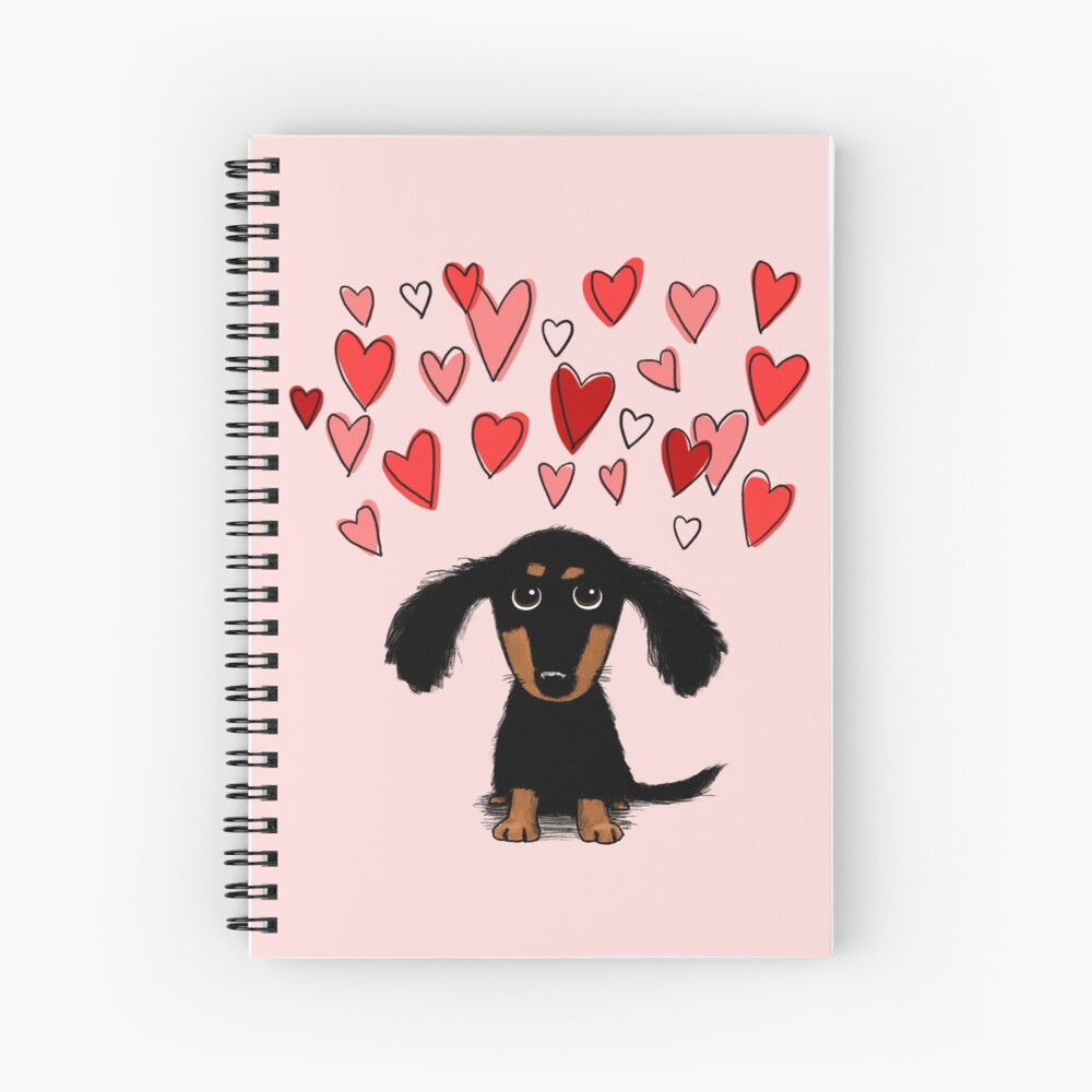 Cute Dachshund Puppy Dog with Valentine Hearts Spiral Notebook