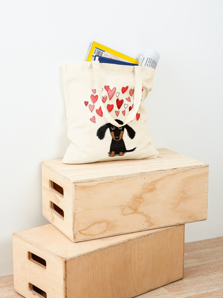 Alternate view of Cute Dachshund Puppy Dog with Valentine Hearts Tote Bag