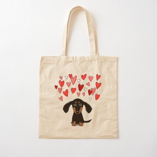Chien chiot teckel mignon avec coeurs de la Saint-Valentin Tote bag classique