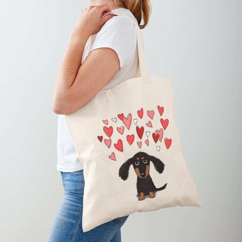 Cute Dachshund Puppy Dog with Valentine Hearts Tote Bag