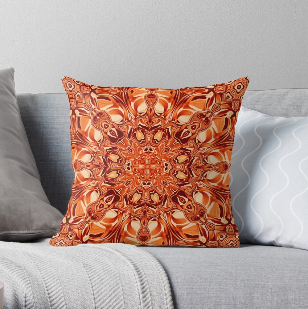 Liquefied Flow VI - Orange Throw Pillow
