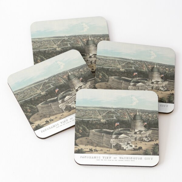 19th century bird's eye view of Washington Coasters (Set of 4)