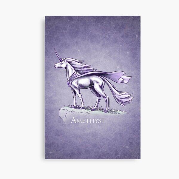 February Birthstone Unicorn: Amethyst Fantasy Art Canvas Print