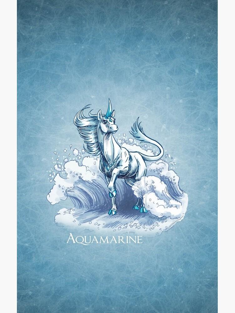March Birthstone Unicorn: Aquamarine Gemstone Fantasy Art by stephsmith
