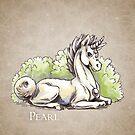 June Birthstone Unicorn: Pearl Gemstone Fantasy Artwork by Stephanie Smith