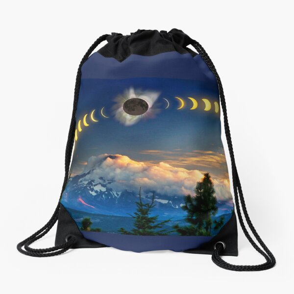 Solar Eclipse of Aug 21, 2017 as visualized above Mt. Hood Drawstring Bag