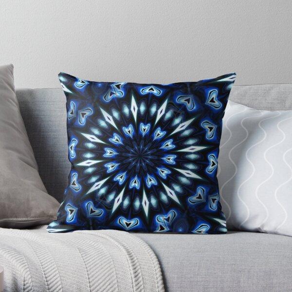 Blue hearts caleidoscope Throw Pillow