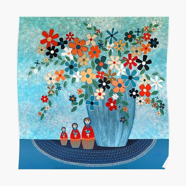 Babushka Love Floral Poster