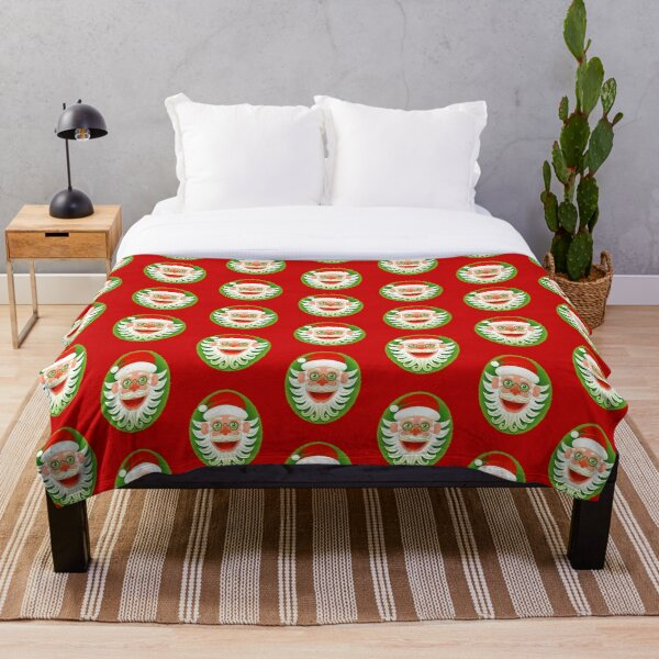 Smiling Santa Claus celebrating Christmas in Hipster style Throw Blanket