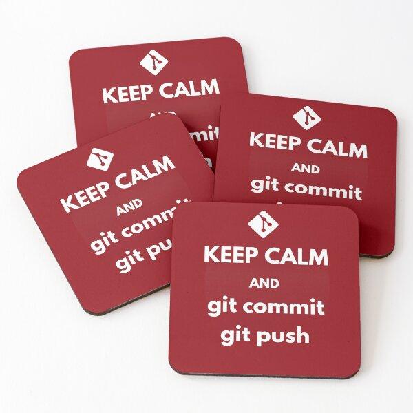git keep calm and git commit git push Coasters (Set of 4)