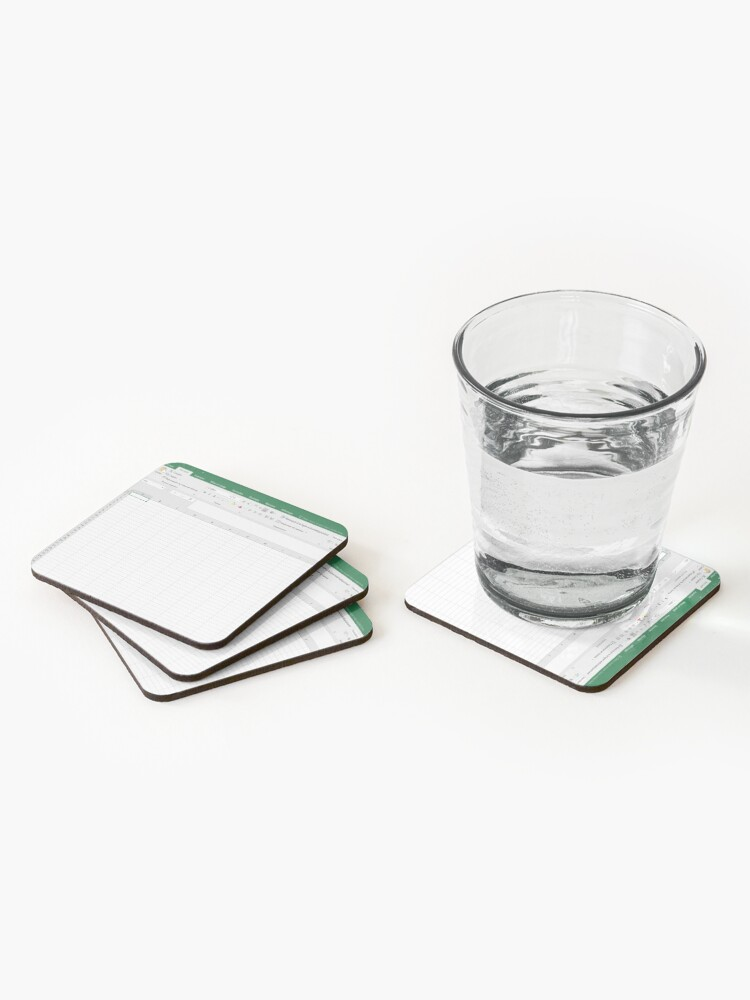 Alternate view of Excel spreadsheet Coasters (Set of 4)