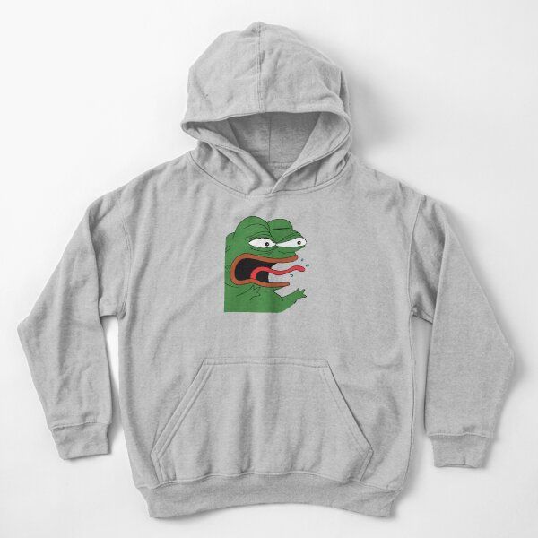 Pepe The Frog Mad Angry Raging and screaming REEE with tongue out Rare PepeTheFrog from Kekistan HD HIGH QUALITY ONLINE STORE Kids Pullover Hoodie