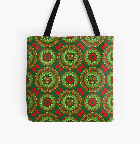 Christmas pattern of Brussels sprouts chestnuts cranberries  All Over Print Tote Bag