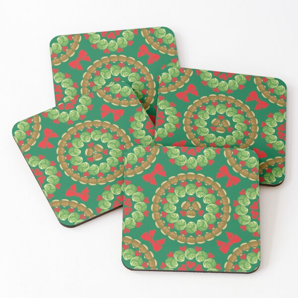 Christmas pattern of Brussels sprouts chestnuts cranberries  Coasters (Set of 4)
