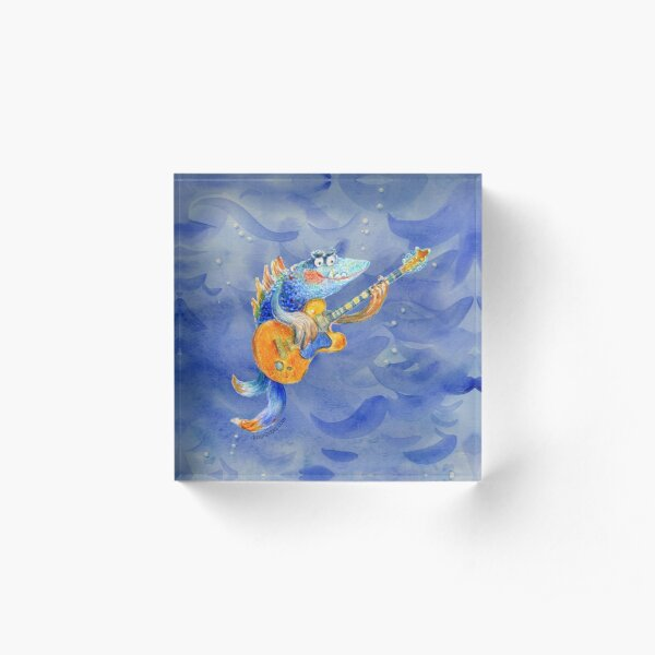Famous underwater guitar player Acrylic Block