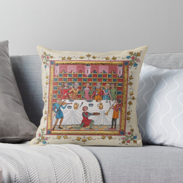 Medieval illumination - Gothic Banquet Throw Pillow