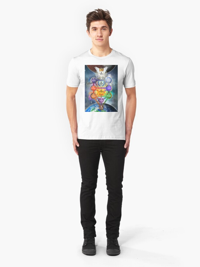 Alternate view of Kablalistic Tree of Life With Planets Slim Fit T-Shirt