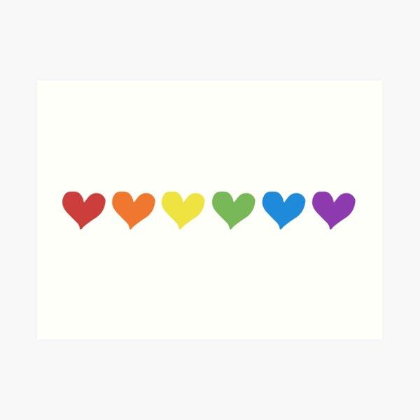 Pride Rainbow Hearts Art Print