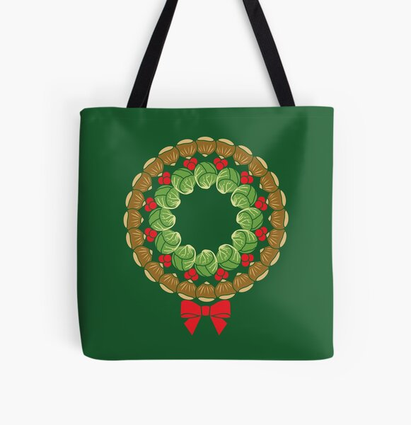 Christmas wreath of Brussels sprouts chestnuts cranberries pattern All Over Print Tote Bag