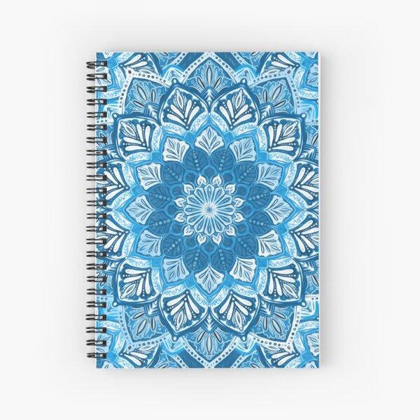 Boho Mandala in Monochrome Blue and White Spiral Notebook