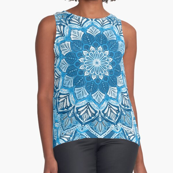 Boho Mandala in Monochrome Blue and White Sleeveless Top