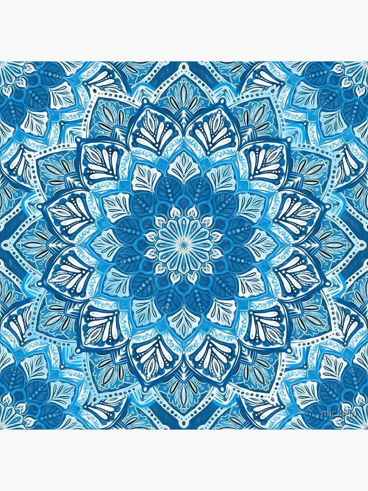 Boho Mandala in Monochrome Blue and White by micklyn