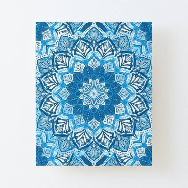 Boho Mandala in Monochrome Blue and White Canvas Mounted Print