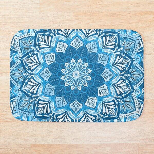 Boho Mandala in Monochrome Blue and White Bath Mat