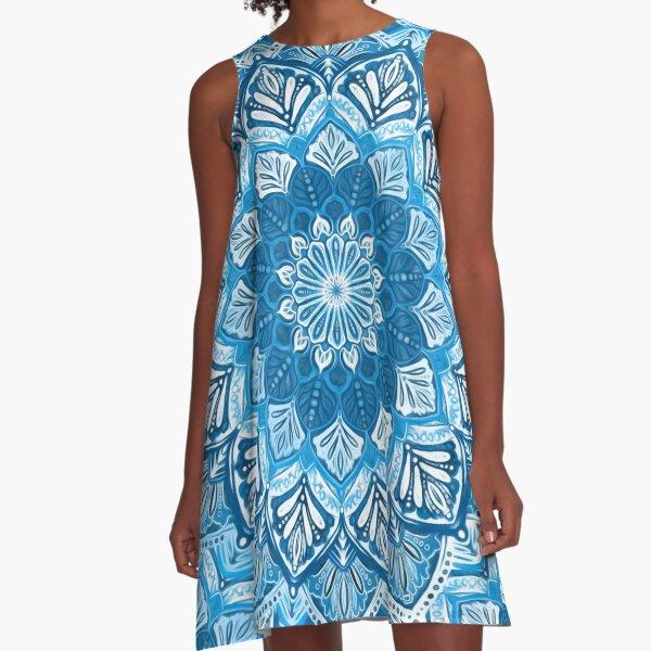 Boho Mandala in Monochrome Blue and White A-Line Dress