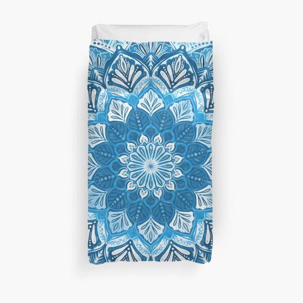 Boho Mandala in Monochrome Blue and White Duvet Cover