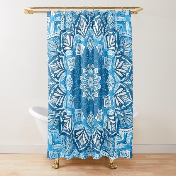 Boho Mandala in Monochrome Blue and White Shower Curtain