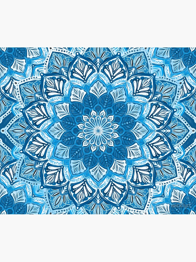 Boho Mandala in Monochrome Blue and White by micklyn