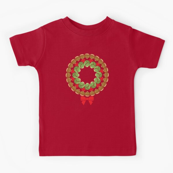 Christmas wreath of Brussels sprouts chestnuts cranberries pattern Kids T-Shirt