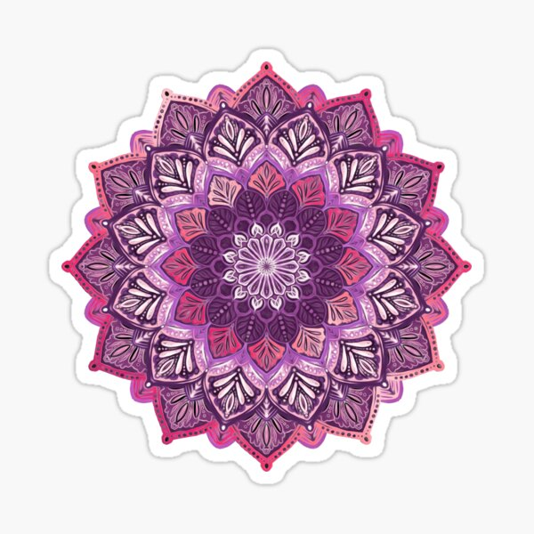 Boho Mandala in Deep Purple and Pink Sticker