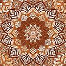 Boho Mandala in Monochrome Brown and Cream by micklyn