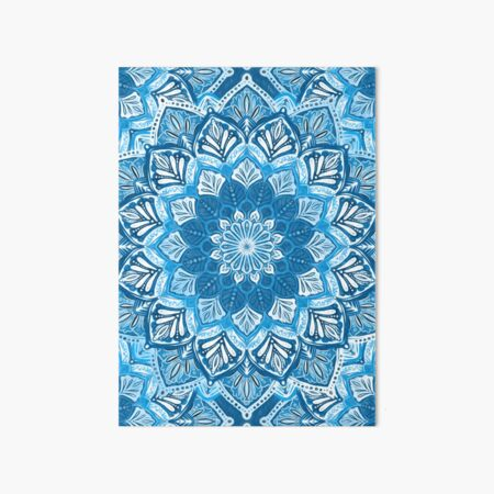 Boho Mandala in Monochrome Blue and White Art Board Print