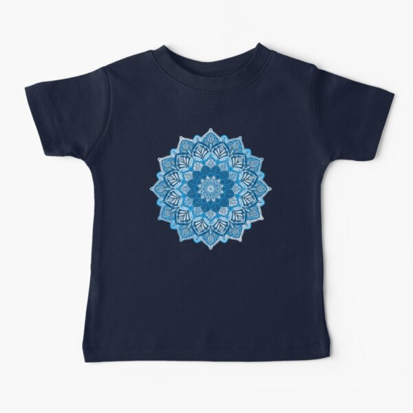 Boho Mandala in Monochrome Blue and White Baby T-Shirt