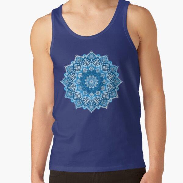 Boho Mandala in Monochrome Blue and White Tank Top