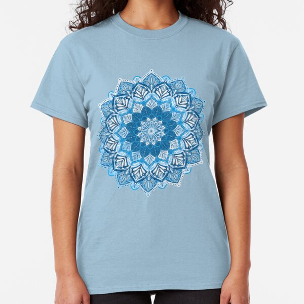 Boho Mandala in Monochrome Blue and White Classic T-Shirt
