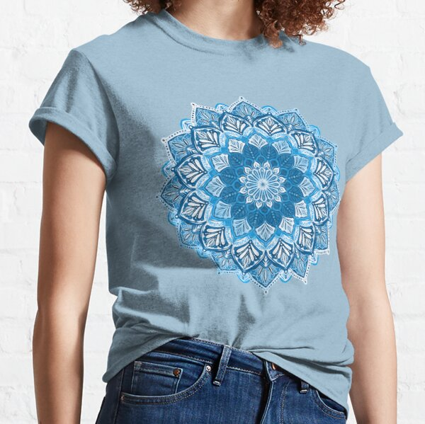 Boho Mandala in Monochrome Blue and White Classic T-Shirt